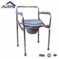 Thicken foldable stainless steel factory OEM or ODM commode chair