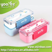 Collapsible Silicone Plastic Airtight Korean Lunch Box for Kids with Cutlery Set