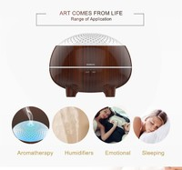 Ultrasonic Cool Mist Wood Grain 300ml Aroma Diffuser with LED Light, Aromatherapy function