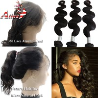 New Style 360 Lace Frontal with Bundle with Baby Hair Virgin Human Peruvian Body Wave 360 Closure and Bundles Pre Plucked 360 Frontal Band Nautral Hairline For Black Women