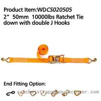 "WDCS020505 2"" 50mm 10000lbs Ratchet Tie down with double J Hooks"