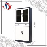 Glass swing door office metal corner filing cabinet with two drawers