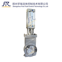Pneumatic ceramic slurry slide gate valve with double ceramic seat