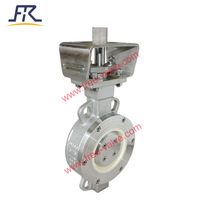 Anti-abrasive ceramic butterfly valve for abrasive and corrosive regulating applications DN100
