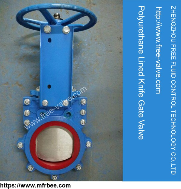 1 piece replaceable liner in Polyurethane Knife Gate Valve for mining slurry