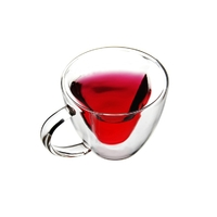 Manufacturer Custom Logo Insulated Heart Shaped Double Wall Glass Coffee Mug Tea Cup with Handle