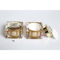 15g square golden acrylic cream jar