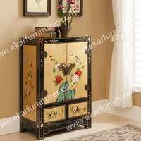 Living Room Cabinet Flower Drawing Chest Of Drawers