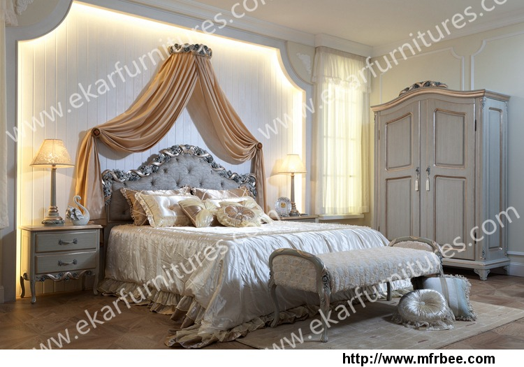 rose_decoration_vintage_french_wood_double_bed