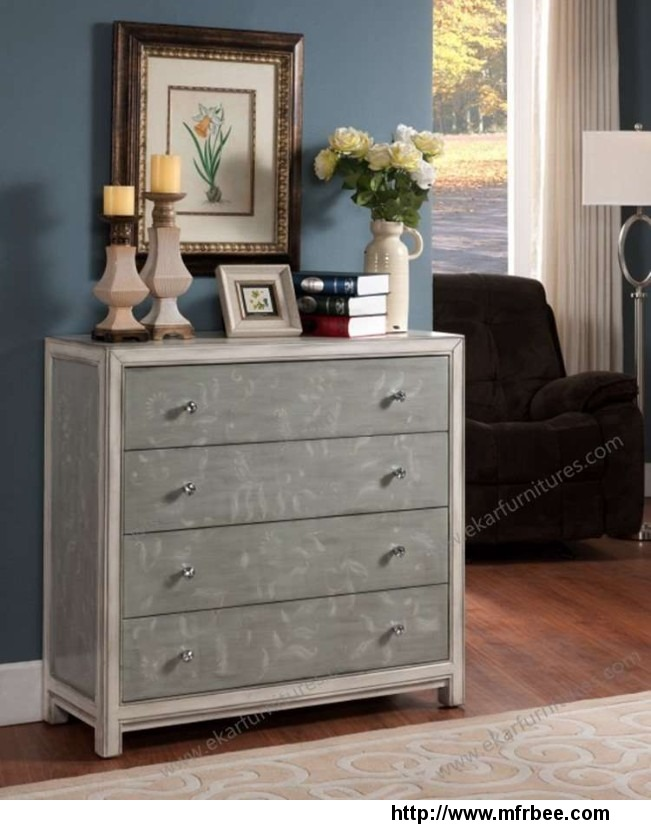 leaf_pattern_gray_color_drawer_chest_with_4_drawers