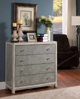 Leaf pattern Gray Color Drawer Chest With 4 Drawers