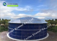 Center Enamel Provide Bolted Steel Biogas Storage Tanks With Single and Double Membrane Roofs