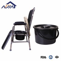 Portable Commode Wheelchair Bedside Toilet Shower Chair