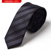 Gray color white stripe polyester wedding ties