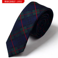 Dark blue and green with red grid polyester woven neck tie