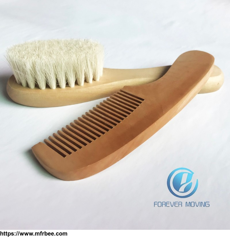 2pcs Pure Natural Wool Baby Wooden Brush Comb Newborn Hair Brush Infant Comb