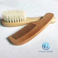 more images of 2pcs Pure Natural Wool Baby Wooden Brush Comb Newborn Hair Brush Infant Comb