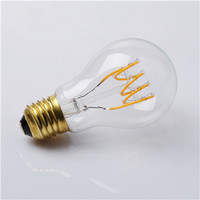 A19 LED Soft Filament flexible spiral curved bulb
