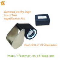 LED UV light optical lens diamond jewelry triplet magnifier and loupe 30x magnification