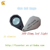 10X Six LED lights 21mm lens portable Jewellery Triplet Loupe Magnifier