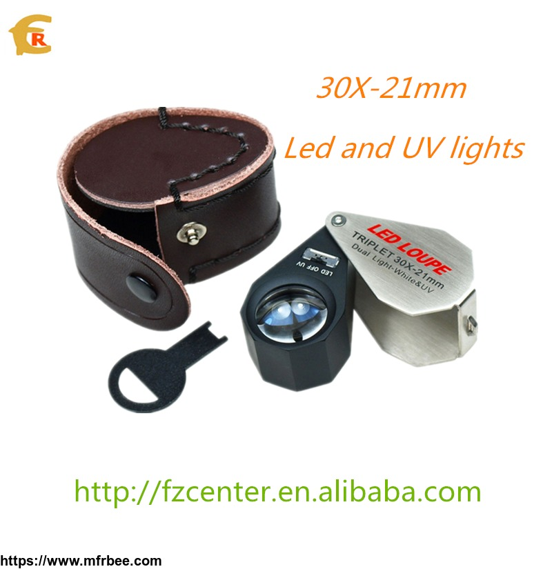 hot_sale_30x_21mm_dual_illuminated_jeweler_s_loupe_with_led_an_uv_lights