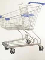 german style  metal shopping cart 4 wheel  with seat wholesale