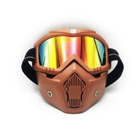 hot sale fashion style detachable motorcycle goggles with face mask motocross mountain bike racing goggles