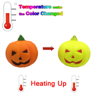 Kawaii Temperature Color Change Slow Rising Scented Squeeze Reliever Stress Toy Squishy Pumpkin
