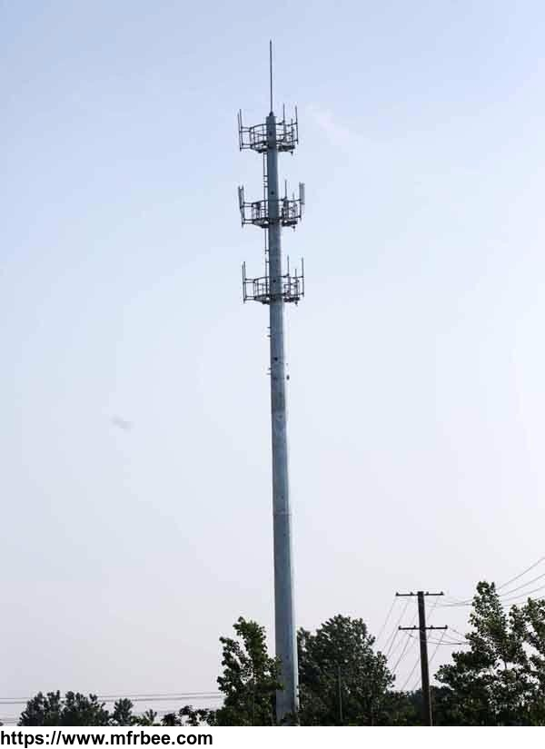 Anti-wind galvanized single tube communication tower