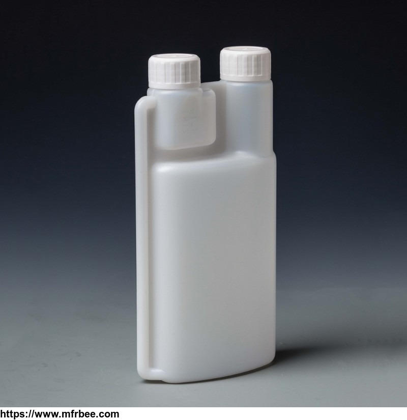 liquid packaging container twin neck measuring plastic dosing bottle
