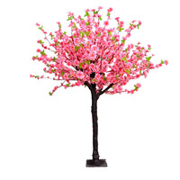 For romantic wedding decor peach blossom tree artificial with lifelike silk flower & wood trunk for sale