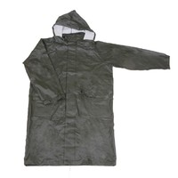 R-24017 GREEN PU LONG RAIN MENS WATERPROOF JACKETS