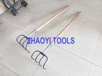 1055040 assembled straight handle forging digging weeding garden curved forks