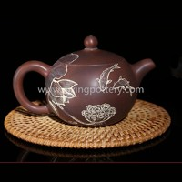 Nixing Pottery Fishes Play With Lotuses Teapot Family Use Tea Pot Chinese Pure Handmade Ceramic Teapot