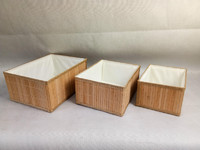 Bamboo box with fabric lining, Natural Bamboo Bin Eco-Friendly