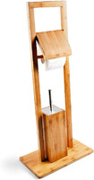 Bamboo Toilet Butler With Toilet Paper Holder And Toilet Brush, Eco-Friendly 100%Natural