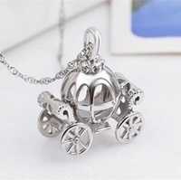 LivingPal S925 Sterling Silver Rhodium Plated Cz Crystal Cinderella's Pumpking Carriage Halloween Pendant Necklace