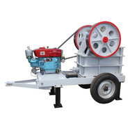 mobile diesel powered jaw crusher stone crushing machinery plant use