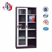 two door mordern office sliding glass door filing cabinet