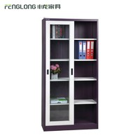 Luoyang Steel Office Cupboard Supplier Double Glass Sliding Door File Cabinet Corner Glass Display cabinet With 4 Shelves