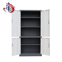 Fixed 3 adjustable shelves metal filing cabinet 4 door storage cabinet made in China