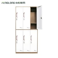 Free standing hotel almirah 2 floor 6 door lateral steel wardrobe closet