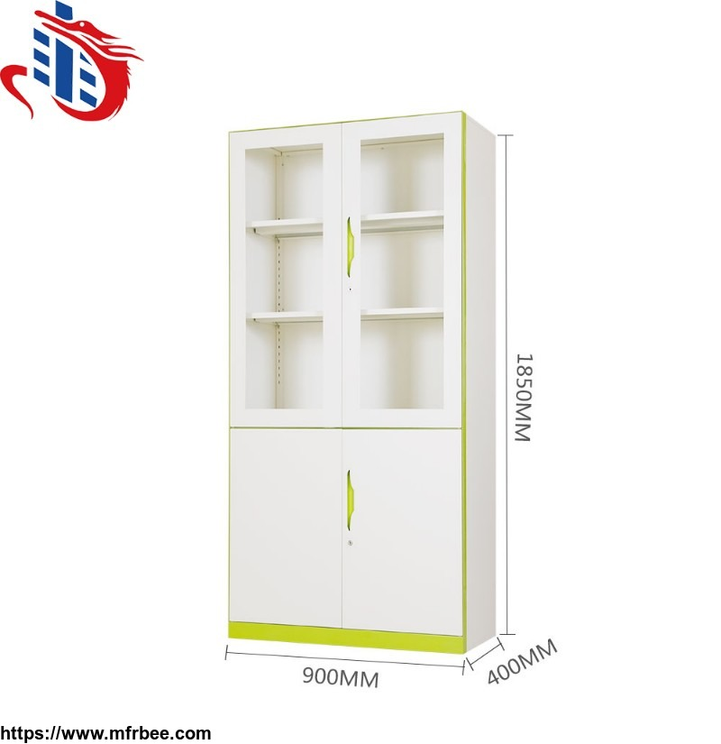double_colour_metal_file_cabinet_office_storage_glass_door_steel_cupboard