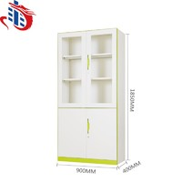 Double-Colour metal file cabinet /office storage glass door steel cupboard