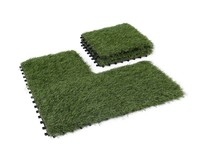 GOLDEN MOON Artificial Grass Turf Tile Interlocking Self-draining Mat