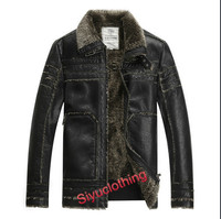 2015 Men Leather Lapel Casual Windproof Latest Design PU Winter Jacket (F-1632)