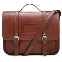 Women Briefcase Vintage Crossbody Messenger Bag PU Leather Satchel Purse