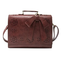 Vintage Ladies PU Leather Laptop Bag Briefcase Crossbody Messenger Satchel Purse