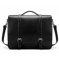 Vintage Womens Briefcase PU Leather Laptop Backpack Hollowed-Out Messenger Satchel