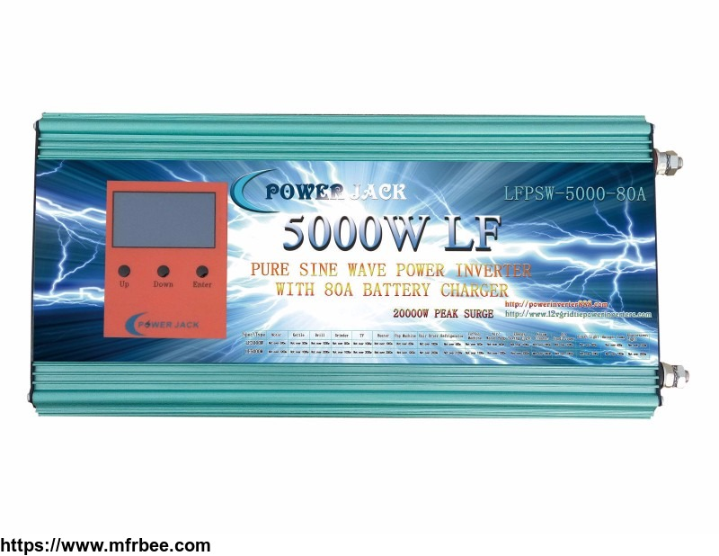 LF 5000W Pure Sine Wave Power Inverter DC 12V to AC 220V/230V/240V,with LCD display, 80A Charger